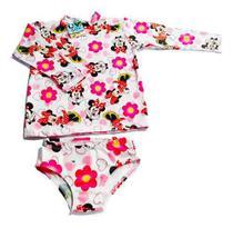 Biquini Infantil + Blusa Proteção Solar Infantil Uv50 Minnie - Anjo Da Mamãe