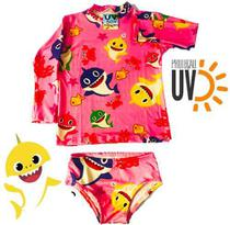 Biquini Infantil + Blusa Proteção Solar Infantil Uv50 Shark - Anjo Da Mamãe