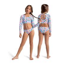 Biquíni infantil calcinha e cropped com fator de proteção solar listrado e poá aquarela - Dedeka