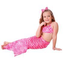 Biquíni Infantil Com Calda de Sereia Rosa Com Proteção UV - Cecí Moda Praia