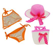 Biquini Infantil Sereia + Chapeu de Praia + Bolsa 1 a 3 Anos - Piftpaft