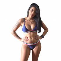 Biquíni Náltico Azul Marinho Cortinha Fixa Semi Fio - Tam: G - Mf Fashion