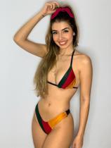 Biquíni Reggae Cortininha Dupla Face Verde Vermelho Amarelo Tam P - Mf Fashion