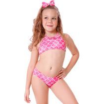 Biquini Top Infantil Babadinho de Sereia Rosa - Cecí Moda Praia