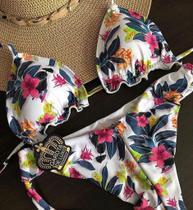 Biquinis Garota de Luxo Beachwear Cortininha com Babadinho Floral Branco 2019 Lançamento -