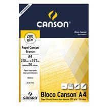 Bloco Canson Desenho Branco 200g/m² A4 210 x 297 mm com 20 Folhas  66667045 -