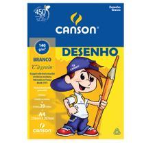 """Bloco Desenho Branco C""""A grain"""" Canson Linha Infantil 140 g/m² A4 210 x 297 mm com 20 Folhas - 66667070 -"""