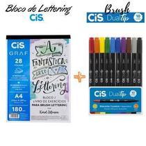Bloco Livro De Exercícios Para Brush Lettering  + Caneta Dual tip 10 cores Cis -