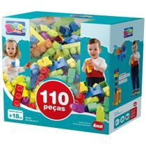 Blocos de Montar Infantil Mais Blocos II Dismat 110 peças MK381 -
