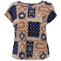 Blusa Bata Plus Size Feminina Estampa Mosaico - Fmsp