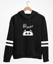 blusa blusão frio moletom feminino infantil meow gato - Kazo