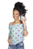 Blusa Ciganinha Feminina Bolinhas Azul Racana - RAC555-AZ -