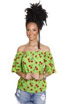 Blusa Ciganinha Feminina Cerejas Verde Racana - RAC555-VD -