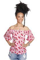 Blusa Ciganinha Feminina Corações Rosa  Racana - RAC555-RS -