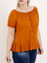 Blusa Ciganinha Plus Size Feminina Autentique Caramelo -