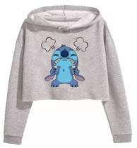 Blusa cropped moletom canguru feminino Stitch Bravo - Player