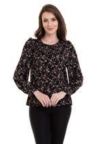 Blusa Estampada Crepe Maquinetado - Kinara