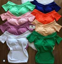 Blusa feminina canelada decote V ombro a ombro manga curta - propria