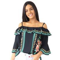 Blusa Feminina Ciganinha Ombro a Ombro Florida Alcinha Verão - Zafina