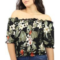 Blusa Feminina Ciganinha Ombro a Ombro Viscolycra Floral - Dpontes