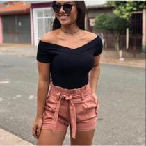 Blusa feminina ombro a ombro canelada moda - propria