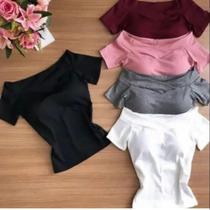 Blusa feminina ombro a ombro canelada moda - Própria