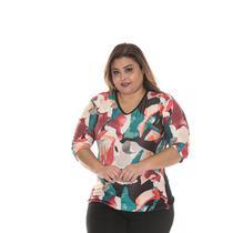 Blusa gola V PLUS SIZE  roupa feminina tamanho 46 ao 54 cod 077 - Seroy