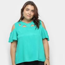 Blusa Heli Open Shoulder Ciganinha Plus Size Feminina -