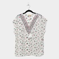 Blusa Heli Plus Size Rendada Floral Transparente Feminina -
