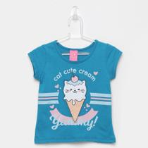 Blusa Infantil Kamylus Cat Cute Cream -
