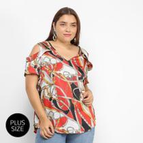 Blusa Lemise Open Shoulder Cintos  Fivelas Plus Size Feminina -