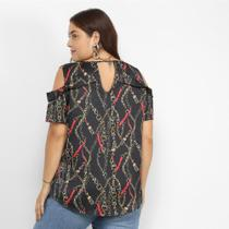 Blusa Lemise Open Shoulder Correntes Plus Size Feminina -