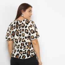 Blusa Lemise Plus Size Animal Print Onça Feminina -