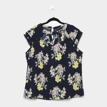 Blusa Lemise Plus Size Floral Guipir Feminina -