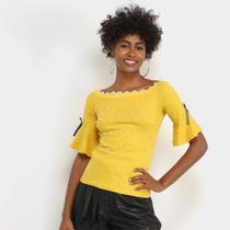 Blusa Lily Fashion Com Perolas Feminina -