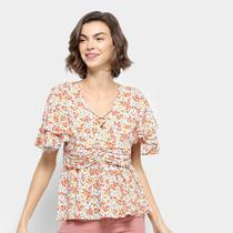 Blusa Lily Fashion Estampada Franzidos Feminina -