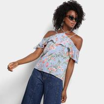 Blusa Lily Fashion Floral Babado Feminina -