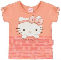 Blusa Manga Curta em Cotton Light - Salmão - Hello Kitty