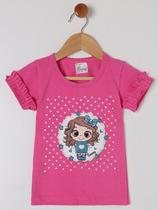 Blusa Manga Curta Para Menina - Pink - Nanny