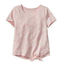Blusa manga curta rosa estampada amarrada na cintura - GAP -