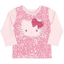 Blusa \Manga Longa em Cotton Light - Rosa - Hello Kitty