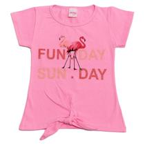 Blusa Menina Juvenil Estampa Flamingo Fun Day Sun Day - Jacks Fashion