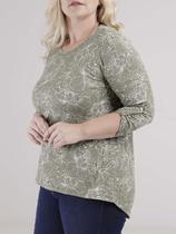 Blusa Mga 3/4 Autentique Plus Size Feminino Verde -