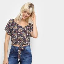 Blusa Mixxon Cropped Amarração Estampa Floral Feminina -