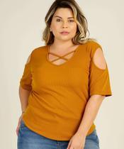 Blusa Plus Size Feminina Canelada Tiras Strappy - Chopp
