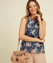 Blusa Regata Feminina Estampa Floral Franzido Marisa -