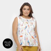 Blusa Regata Heli Plus Size Estampada Feminina -