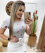 Blusa T-shirt Feminina Baby Look Estampas Coração grande - Seven