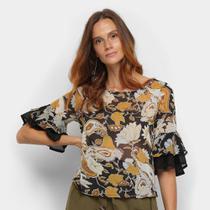 Blusa Top Moda Ampla Estampada Transparência Feminina -