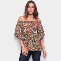 Blusa Top Moda Ombro a Ombro Floral Ampla Feminina -